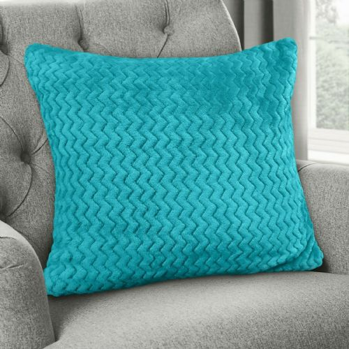 Large Luxury Chevron Zig Zag Super Soft Velvet Plush Scatter Cushion Plain Teal 56cm x 56cm